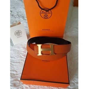 Authentic Hermes orange black reversible belt